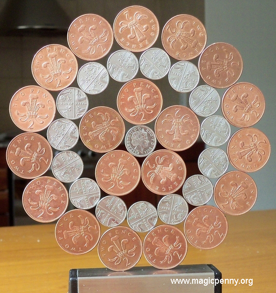 Standing Patagonia  Wheel Mandala of magnetic 1992 British 2p and 2011 British 5p coins